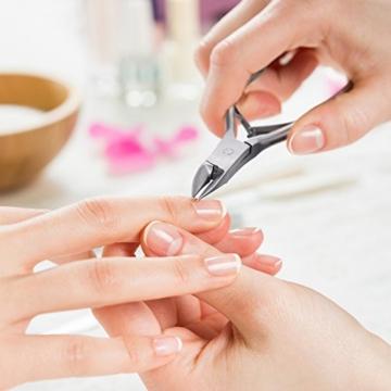VALNEO Nagelzange aus rostfreiem Edelstahl, spitz, gebogene Schneide für Fingernägel und Fußnägel | 2 Jahre Zufriedenheitsgarantie | Fußnagelzange, Nagelschneider -