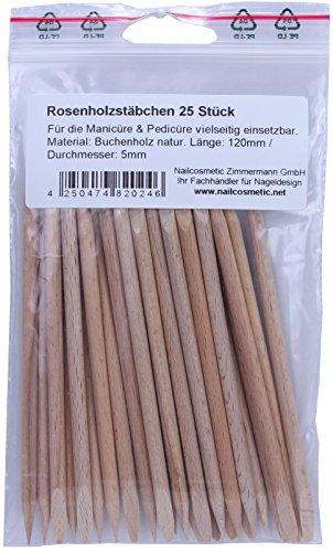 Rosenholz – Stäbchen Holzstäbchen Manikürstäbchen 12cm 25 Stück -